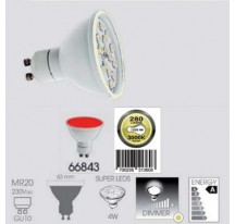 Ampoule LED SMD Rouge GU10 MR20 4 Watts