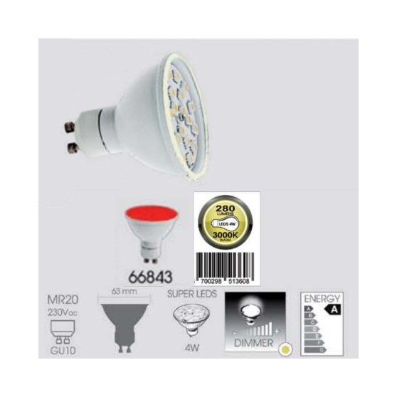 Ampoule LED Rouge GU10 MR20 4 Watts