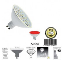 Ampoule Super LED Rouge GU10 MR30 8 Watts