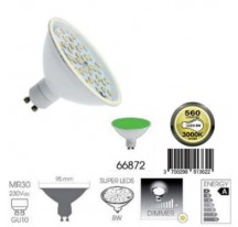 Ampoule Super LED vert GU10 MR30 8 Watts