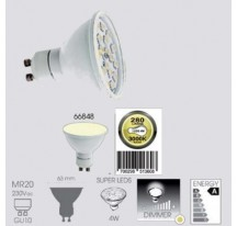 Ampoule LED SMD Blanche GU10 MR20 4 Watts